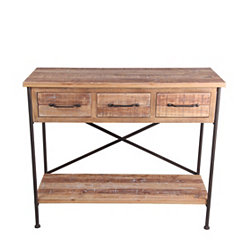 3-Drawer Natural Wood with X-Frame Console Table