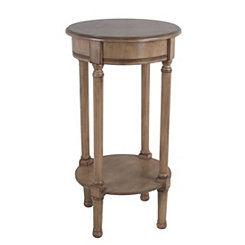 Round Sahara Brown Accent Table