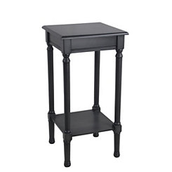 Square Gun Metal Wood Accent Table