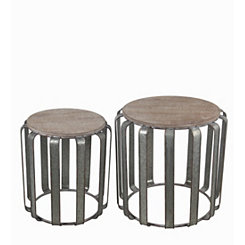 Wood with Galvanized Base Accent Tables, Set of 2