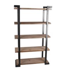 5-Tier Wood with Black Iron Frame Shelf