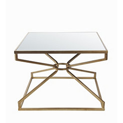 Geometric Gold Metallic Accent Table