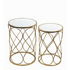 Geometric Metallic Gold Round Tables, Set of 2