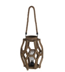 Pre-Lit Cutout Wood and Rope Lantern