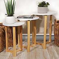 White Top Natural Base Nesting Tables, Set of 3