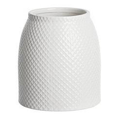White Embossed Lattice Ceramic Utensil Holder