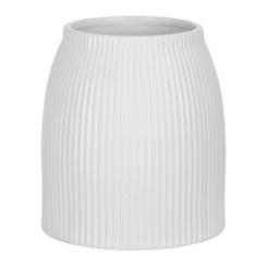 White Embossed Lined Ceramic Utensil Holder