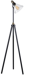Black and Gold Industrial Tripod Floor Lamp