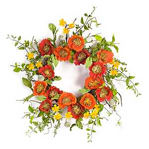 Red and Orange Poppy Wreath