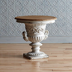 Ornate Accent Table with Removable Rustic Wood Top