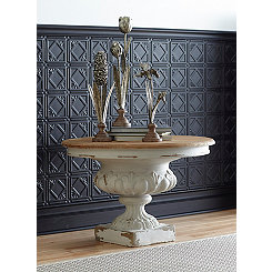 Ornate Accent Table with Removable Wood Tabletop