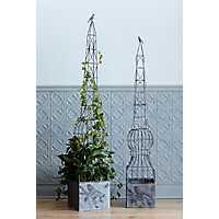 Obelisk Metal Planters with Birds, Set of 2