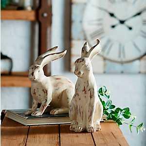 White Resin Rabbit Figurines, Set of 2