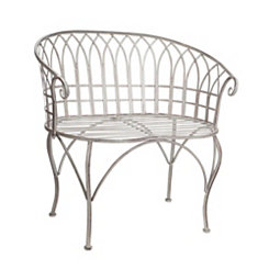 Weathered White Iron Chelsea Bench