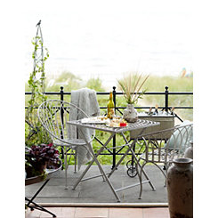 Weathered White Iron Chelsea Chairs, Set of 2
