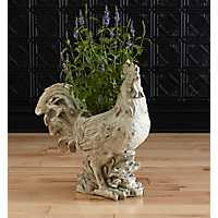 White Distressed Rooster Planter
