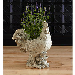 White Distressed Resin Rooster Planter