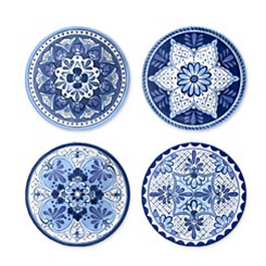 Cobalt Casita Melamine Salad Plates, Set of 4