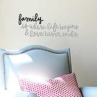 Family Is Where Life Begins Wall Decal