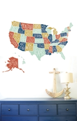 State Name US Map Wall Decal