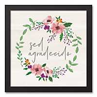 Agradecio Floral Wreath Framed Art Print