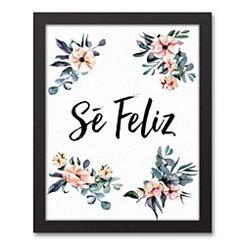 Se Feliz Floral Framed Art Print
