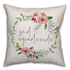 Estar Agradecido Wreath Pillow