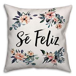 Se Feliz Floral Pillow