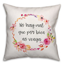 No Hay Floral Wreath Pillow