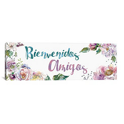 Bienvenidos Amigos Floral Canvas Art Print
