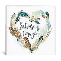 Salvaje de Corazon Feather Canvas Art Print