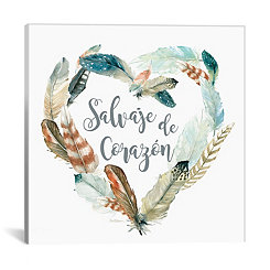 Salvaje de Corazon Feather Canvas Art Print