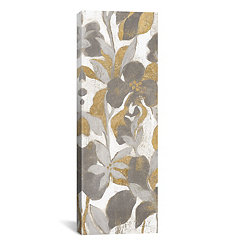 Gray and Gold Tropical Screen II Canvas Art Print