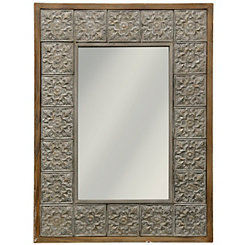 Embossed Wood and Metal Wall Mirror