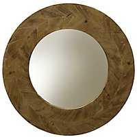 Natural Arrow Round Wood Wall Mirror
