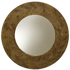 Natural Arrow Round Wood Wall Mirror