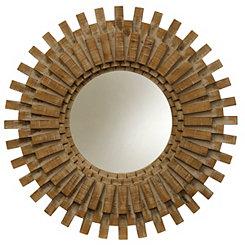 Natural Picket Round Wood Wall Mirror