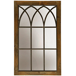 Farmhouse Window Panel Wood and Metal Mirror