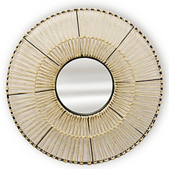Natural Woven Round Wood Wall Mirror