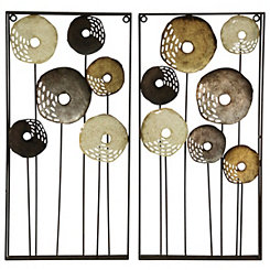 Pierced Petals Metal Wall Sculptures, Set of 2