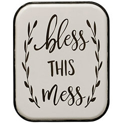 Bless this Mess White Metal Wall Plaque