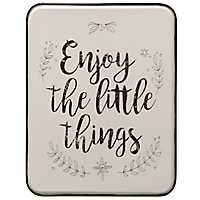 Enjoy the Little Things White Metal Wall Plaque