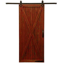 Red Sliding Barn Door Wall Plaque