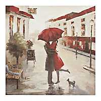 Red Umbrella Kissing Couple Canvas Art Print