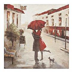 Red Umbrella Kissing Couple Canvas Art Print
