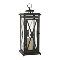 Pre-Lit Black Metal Lori LED Candle Lantern