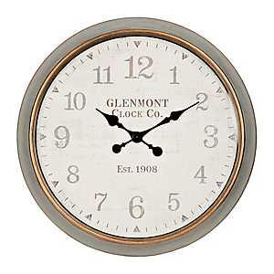 Riley Round Graywash Framed Wall Clock