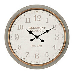 Riley Round Graywash Framed Wall Clock