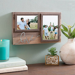 Love 2-Opening Wood and Tin Collage Frame