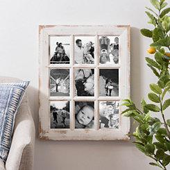 9-Opening Rustic White Windowpane Collage Frame